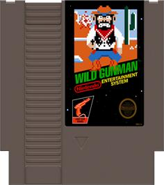 Cartridge artwork for Wild Gunman on the Nintendo NES.
