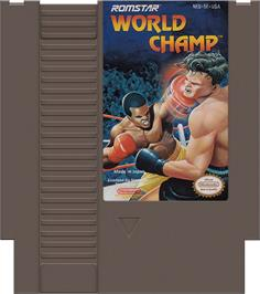 Cartridge artwork for World Champ:  Super Boxing Great Fight on the Nintendo NES.