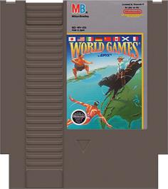 Cartridge artwork for World Games on the Nintendo NES.