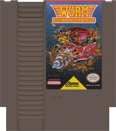 Cartridge artwork for Wurm: Journey to the Center of the Earth on the Nintendo NES.