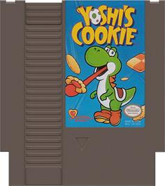 Cartridge artwork for Yoshi's Cookie on the Nintendo NES.