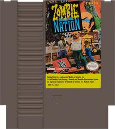 Cartridge artwork for Zombie Nation on the Nintendo NES.