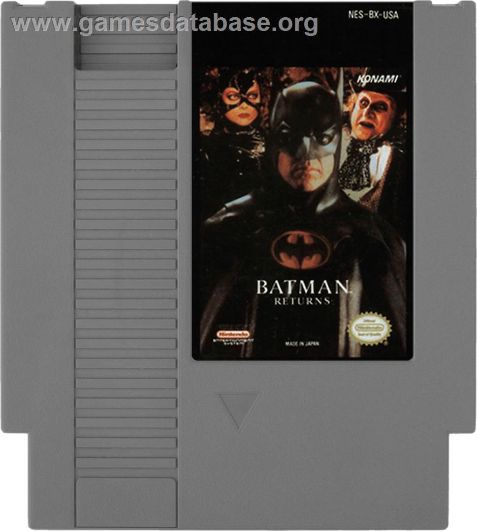 Cartridge artwork for Batman Returns on the Nintendo NES.