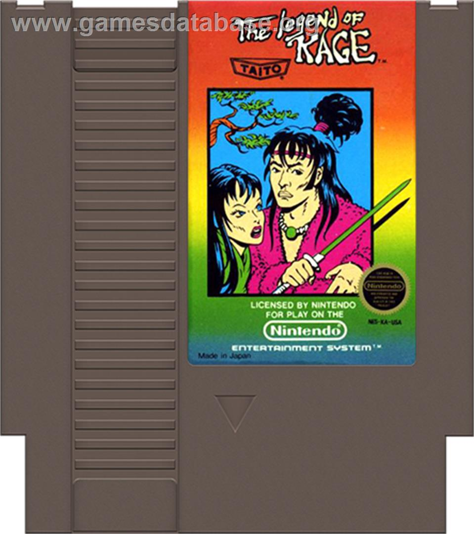 Cartridge artwork for Legend of Kage, The on the Nintendo NES.