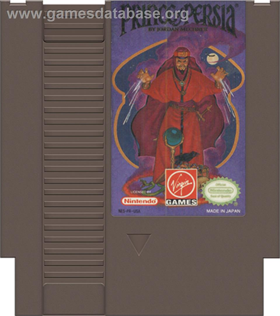 Cartridge artwork for Prince of Persia on the Nintendo NES.