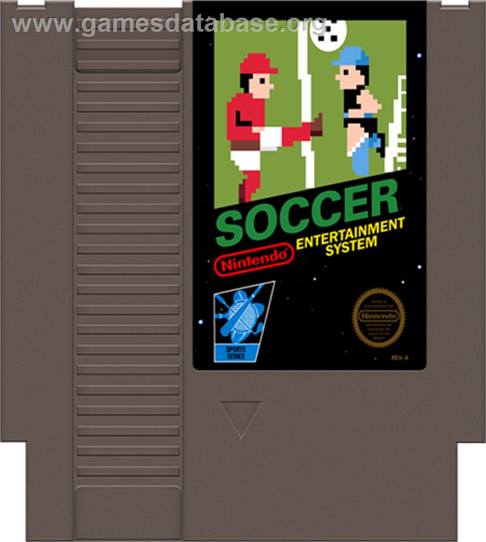 Cartridge artwork for Soccer on the Nintendo NES.