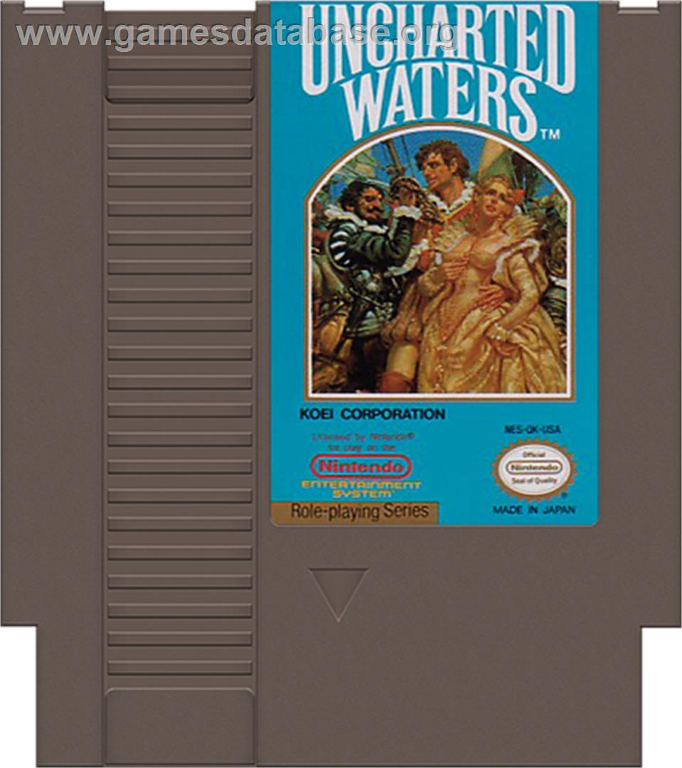 Cartridge artwork for Uncharted Waters on the Nintendo NES.