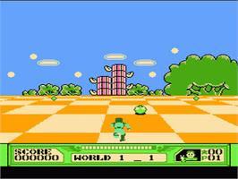 In game image of 3D World Runner on the Nintendo NES.