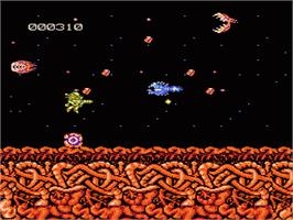 In game image of Abadox: The Deadly Inner War on the Nintendo NES.
