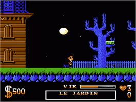 In game image of Addams Family, The on the Nintendo NES.