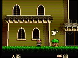 In game image of Addams Family: Pugsley's Scavenger Hunt on the Nintendo NES.