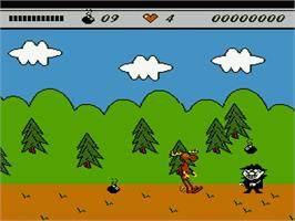 In game image of Adventures of Rocky and Bullwinkle and Friends on the Nintendo NES.
