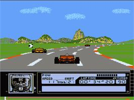 In game image of Al Unser Jr. Turbo Racing on the Nintendo NES.