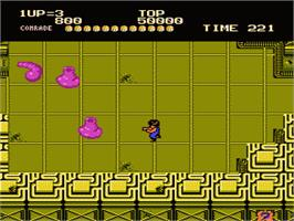 In game image of Alien Syndrome on the Nintendo NES.