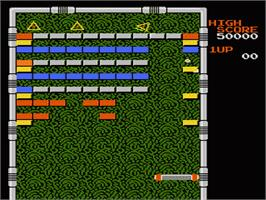 In game image of Arkanoid on the Nintendo NES.