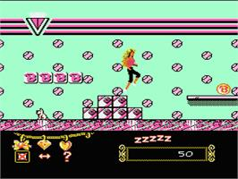 In game image of Barbie on the Nintendo NES.
