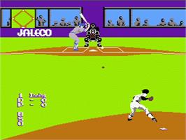 In game image of Bases Loaded on the Nintendo NES.