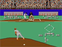 In game image of Bases Loaded 3 on the Nintendo NES.