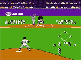 In game image of Bases Loaded 4 on the Nintendo NES.
