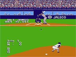 In game image of Bases Loaded II: Second Season on the Nintendo NES.