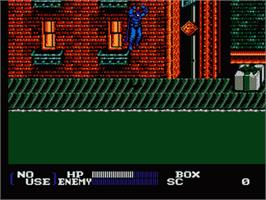 In game image of Batman Returns on the Nintendo NES.