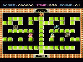In game image of Binary Land on the Nintendo NES.