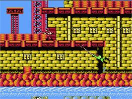 In game image of Bionic Commando on the Nintendo NES.