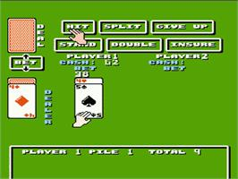 In game image of Blackjack on the Nintendo NES.