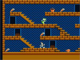 In game image of Bugs Bunny Crazy Castle on the Nintendo NES.