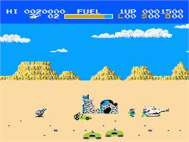 In game image of Choplifter on the Nintendo NES.