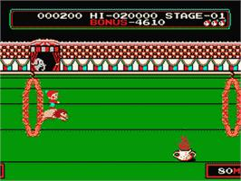 In game image of Circus Charlie on the Nintendo NES.