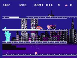 In game image of City Connection on the Nintendo NES.