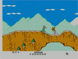 In game image of Cliffhanger on the Nintendo NES.