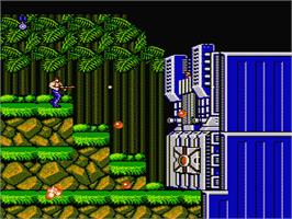 In game image of Contra on the Nintendo NES.