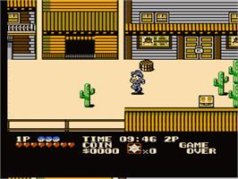 In game image of Cowboy Kid on the Nintendo NES.