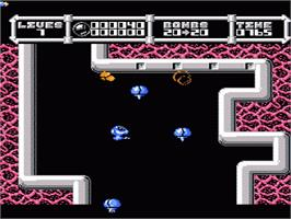 In game image of Cybernoid: The Fighting Machine on the Nintendo NES.