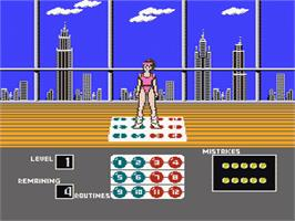 In game image of Dance Aerobics on the Nintendo NES.