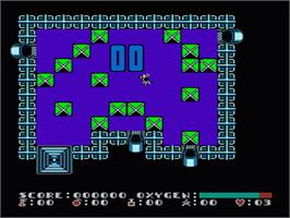 In game image of Dash Galaxy in the Alien Asylum on the Nintendo NES.