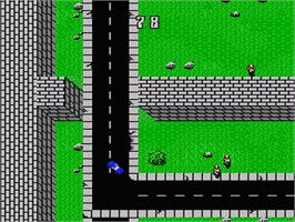 In game image of Death Race on the Nintendo NES.