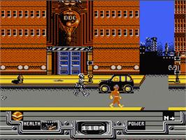 In game image of Defenders of Dynatron City on the Nintendo NES.