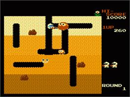 In game image of Dig Dug on the Nintendo NES.