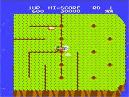 In game image of Dig Dug II on the Nintendo NES.
