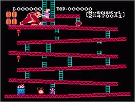 In game image of Donkey Kong on the Nintendo NES.
