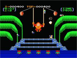 In game image of Donkey Kong 3 on the Nintendo NES.