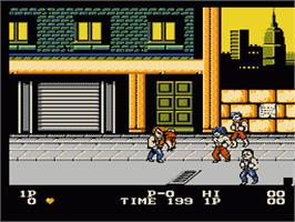 In game image of Double Dragon on the Nintendo NES.