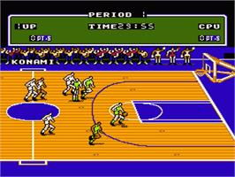 In game image of Double Dribble on the Nintendo NES.