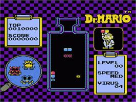 In game image of Dr. Mario on the Nintendo NES.