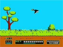 In game image of Duck Hunt on the Nintendo NES.