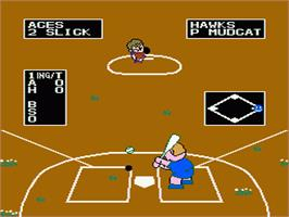 In game image of Dusty Diamond's All-Star Softball on the Nintendo NES.