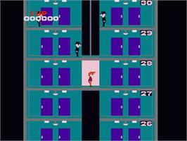 In game image of Elevator Action on the Nintendo NES.